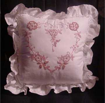 Mauve and White Embroidered Pillow