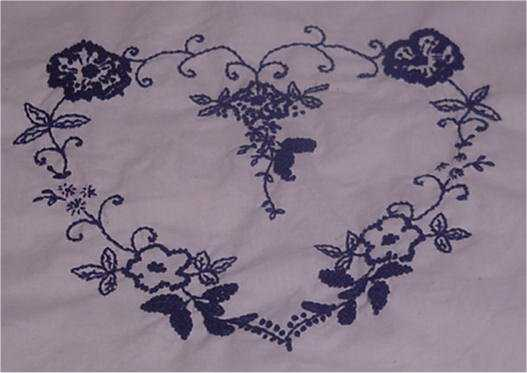 Navy and White Embroidered Lap Quilt